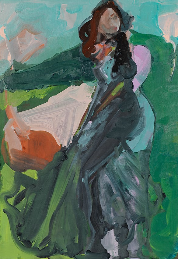 Elaine Speirs  Black Dress, 2017  Oil on board  18 1/10 × 12 1/5 in  46 × 31 cm