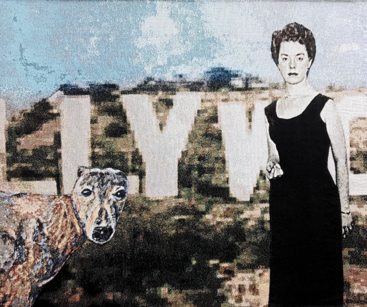 Elizabeth Stewart  Betty and Yoshi go to Hollywood, 2018  Tapestry, digitally woven cotton, hand appliquéd  149 x 126 cm