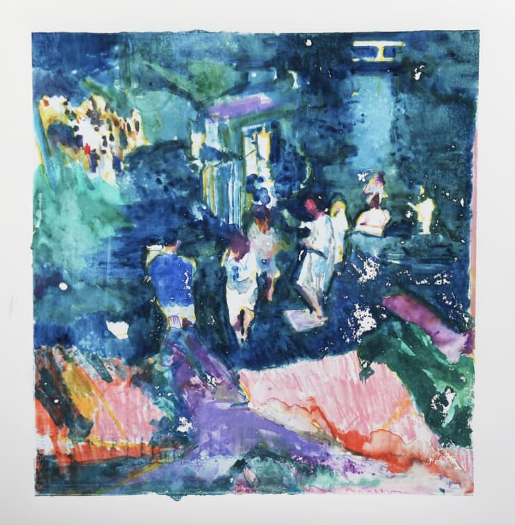 Sam Drake  Prayers for Rain, 2018  Gouache monotype on Bristol  13 × 14 1/5 in  33 × 36 cm