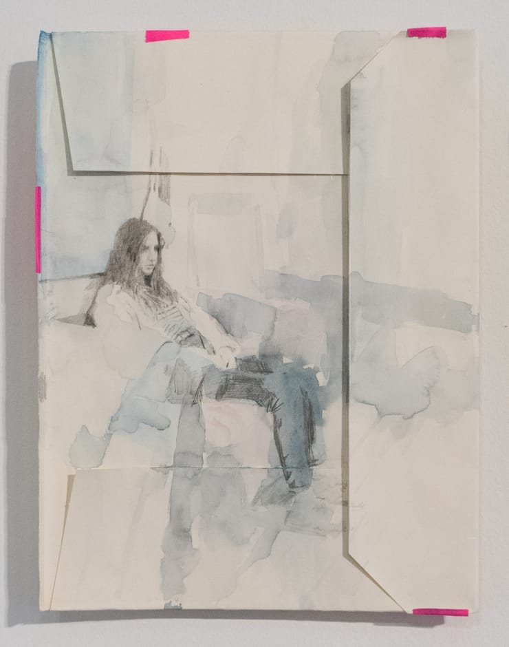 Casper White Next Day 5 (Emma), Mallorca Pencil and watercolour on found book cover. 37 x 28 cm