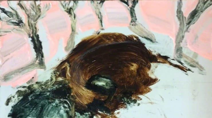 Michael Aurel  Berlin Bluez  oil on board  6 3/10 x 10 3/5 in 16 x 27 cm
