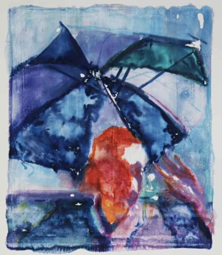 Sam Drake  Sunblock, 2018  guache monotype on paper  7 9/10 x 8 7/10 in 20 x 22 cm