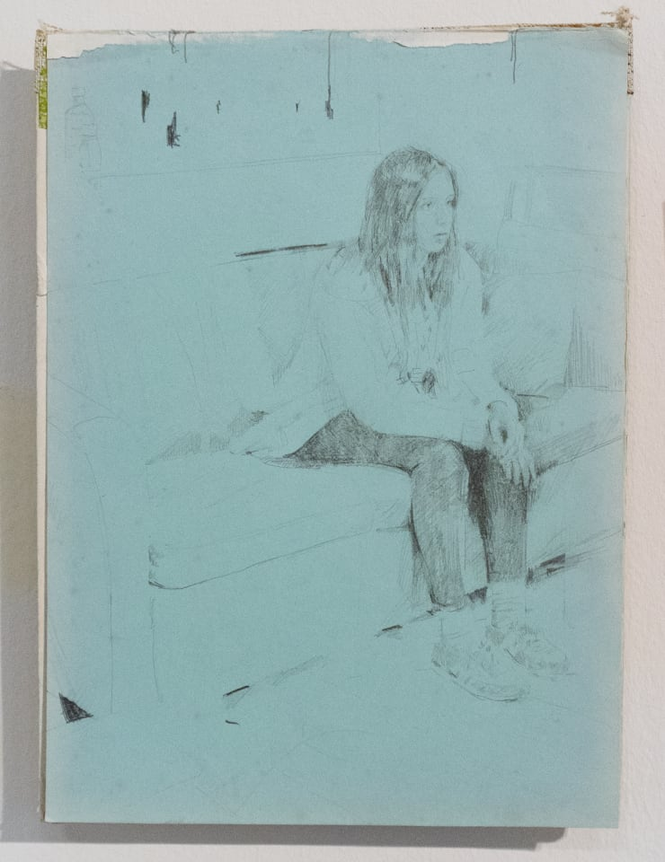 Casper White Next Day 6 (Emma), Mallorca Pencil and watercolour on found book cover 31 x 22 cm