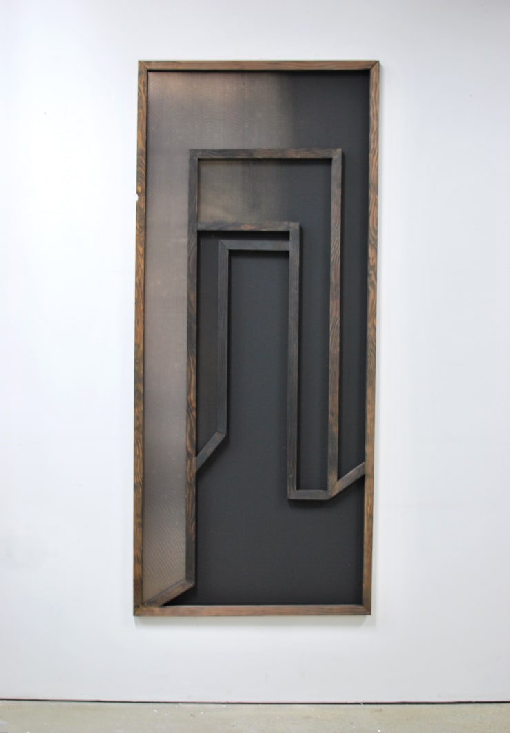 Thomas Adam Home, 2018 One-off screen print on digital image on aluminium, ink wash on Douglas Fir Approx. 170 x 80 x 2 cm