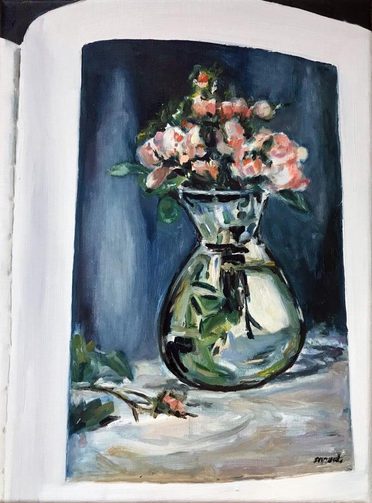 Lara Davies 'Roses Mousseuses dans un Vase' from 'The Last Flowers of Manet' 1, 2019 oil on linen 40 x 30 cm