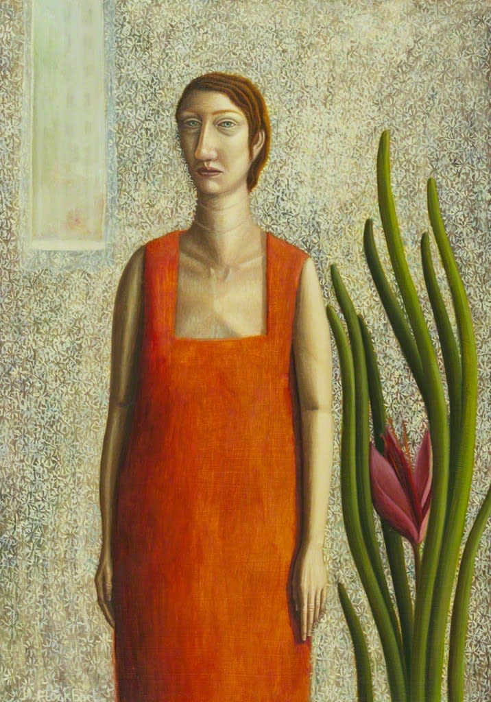 Helen Flockhart Woman in Orange Dress, 2017 Oil on board 32 × 24 × 4 cm