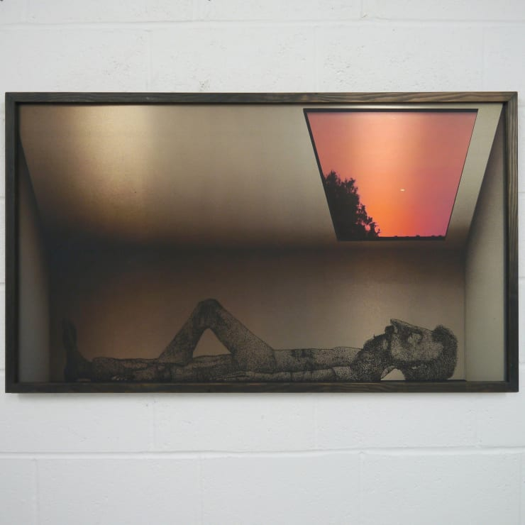 Thomas Adam Dusk in Bonnybridge, 2019 One-off screen print and digital image on aluminium, ink wash on Douglas Fir 133 x 86 x 2 cm