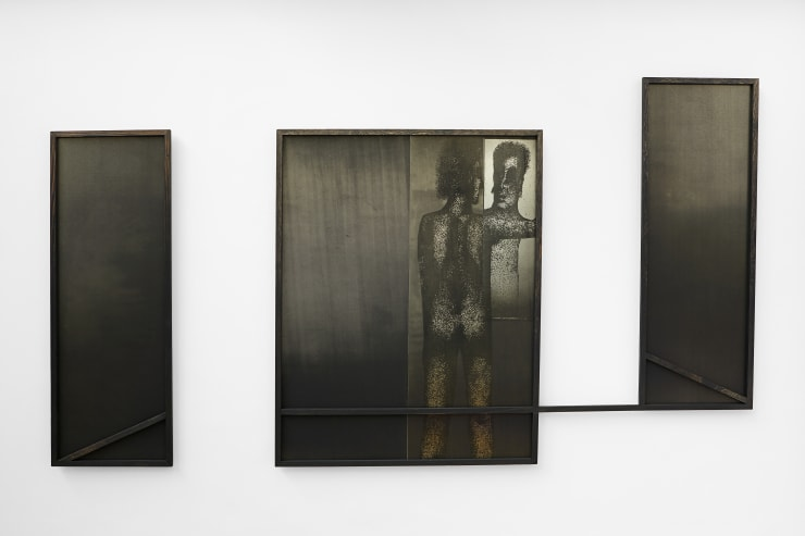 Thomas Adam Disconnect, As True To Nature As I Could Do It Without Being Observed, 2018 One-off screen print and digital image on aluminium, ink wash on Douglas Fir 320 x 176 x 2 cm