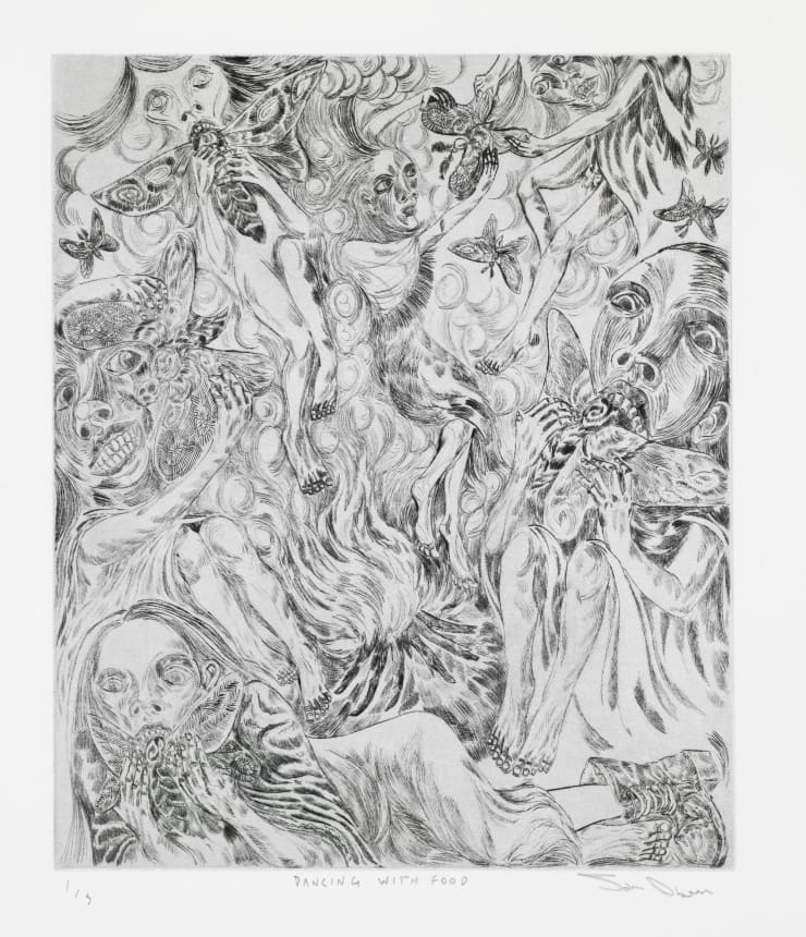 John Abell Dancing with Food, 2019 drypoint engraving 77 x 57 cm