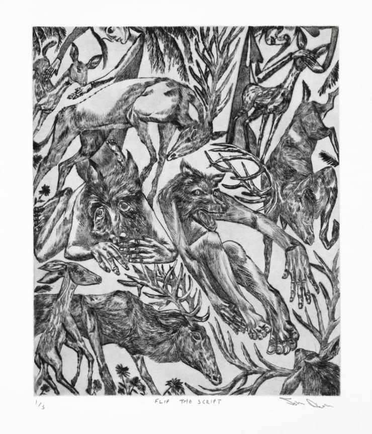 John Abell Flip the Script, 2019 drypoint engraving 77 x 57 cm