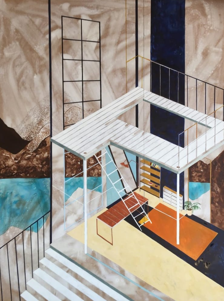 Charlotte Keates Mezzanine View, 2016 Oil and acrylic on board 120 × 90 × 4.5 cm