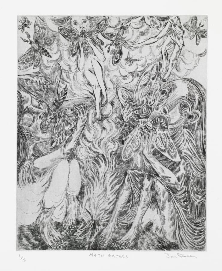 John Abell Moth Eaters, 2019 drypoint engraving 57.5 x 37.5 cm