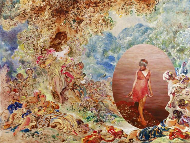 Morwenna Morrison Les Enchanteresses Oil on canvas 91 x 122 cm