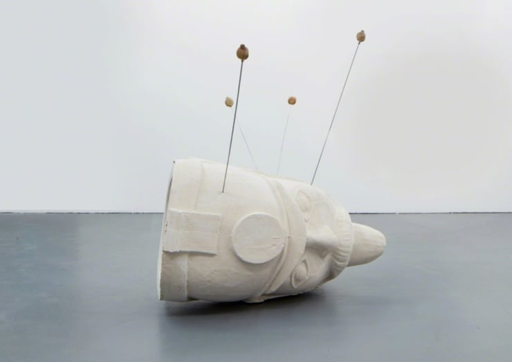 Hamish Pearch It's not a balloon, it's my head sculpture aluminium, jesmonite, poppy heads, cast walnuts 70 9/10 × 39 2/5 × 39 2/5 in 180 × 100 × 100 cm