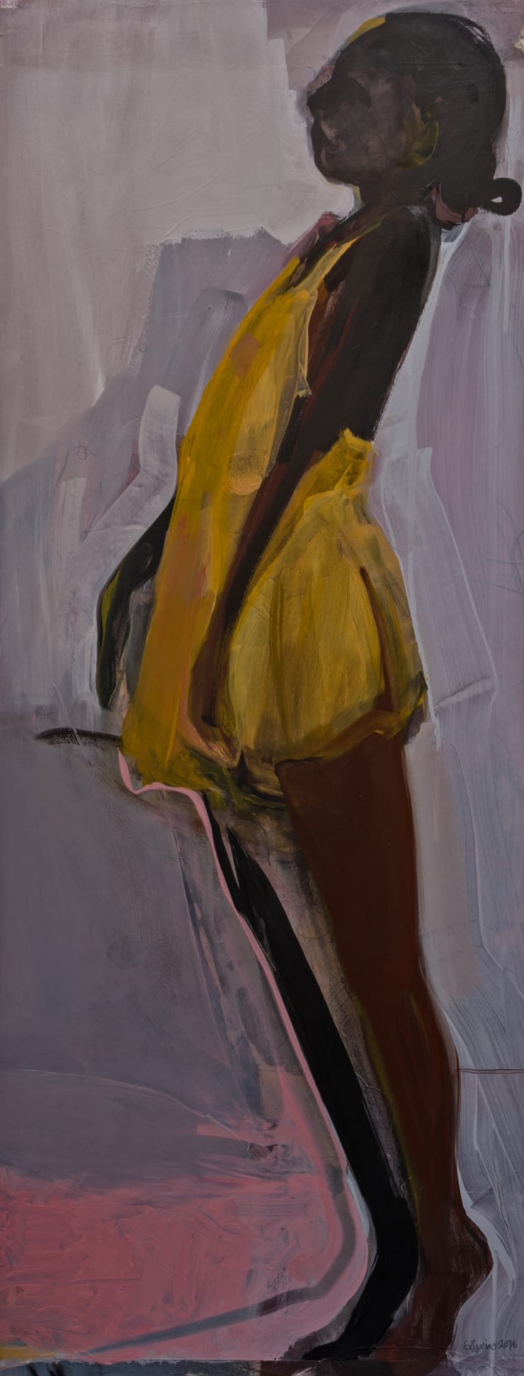 Elaine Speirs  Ponte City Girl IV, 2014  Oil on paper  43 7/10 × 17 3/10 in  111 × 44 cm