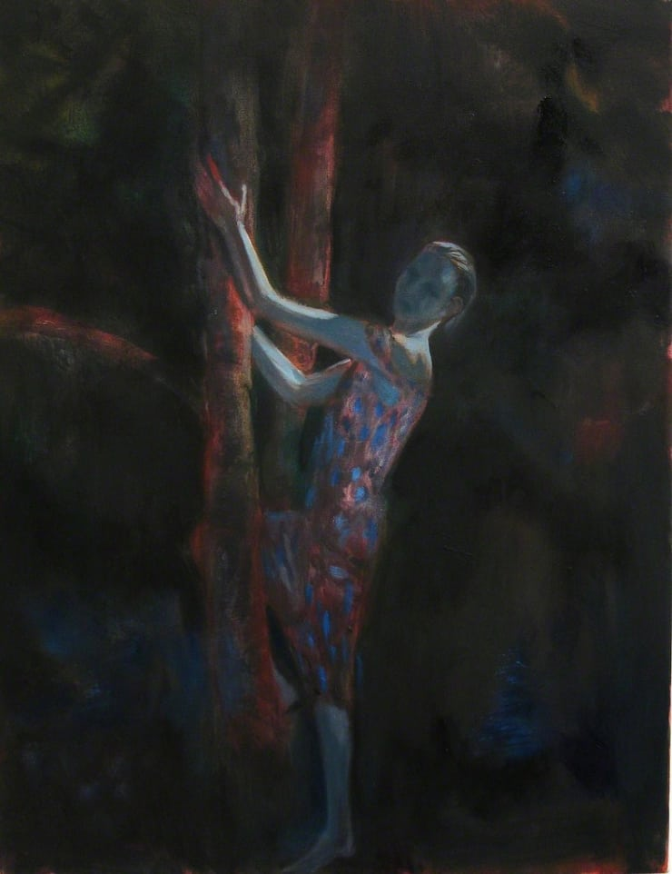 Markus Vater Woman in Moonlight acrylic on canvas 35 2/5 × 19 7/10 in 90 × 50 cm