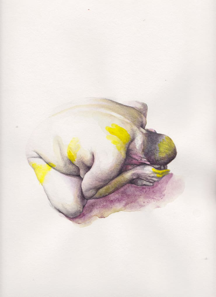 Kirsty Whiten  Abasement (yellow), 2017  Watercolour and graphite on paper  33 x 25 cm