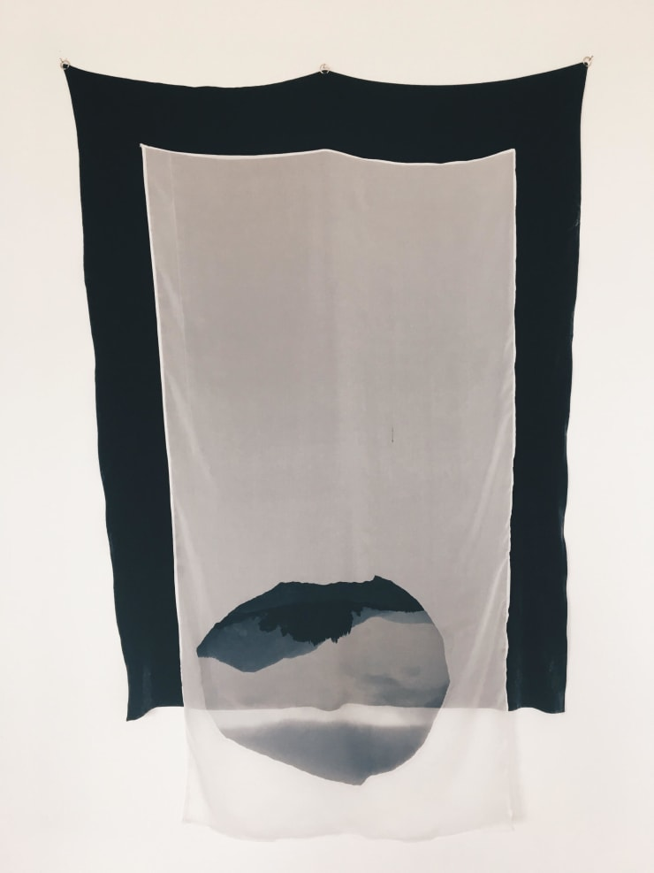 Kate McMillan The Vast Structure of Recollection I, 2018 digital print on silk chiffon, mounted onto silk velvet, bronze hoops 64 1/5 × 40 1/5 in163 × 102 cm