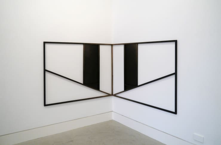 Thomas Adam Crossover, 2018 One-off screen print and spray paint on digital image on aluminium, ink wash on Douglas Fir Approx. 180 x 160 x 2 cm and 200 x 160 x 2 cm