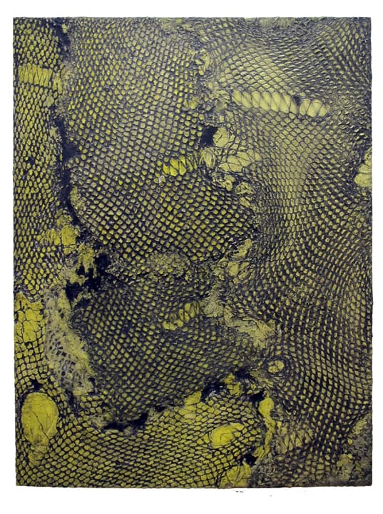 """Abby Goodman Yellow Snakeskin , 2019 Part of Snakeskin Triptych Plaster ink composite on mdf panel, wax 18"""" x 24"""""""