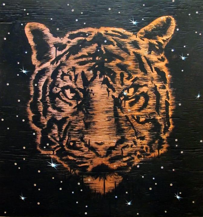 Abby Goodman Copper Tiger In The Stars, 2019 Copper leaf on wood, enamel, glass rhinestones 26 x 28 in 66 x 71.1 cm