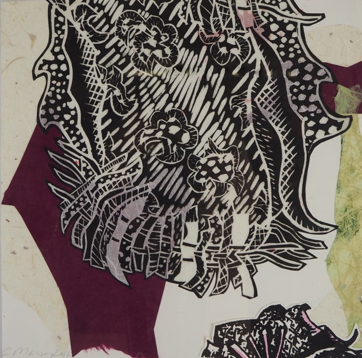 Christina Massey Monoprint ( burgundy and black), 2019 linocut, collagraph, silkscreen, chine colle printmaking techniques on paper 8 x 11 in 20.3 x 27.9 cm