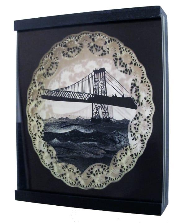 Abby Goodman Williamsburg Bridge Enamel on Plexiglas in wood frame 9 x 9 in 22.9 x 22.9 cm