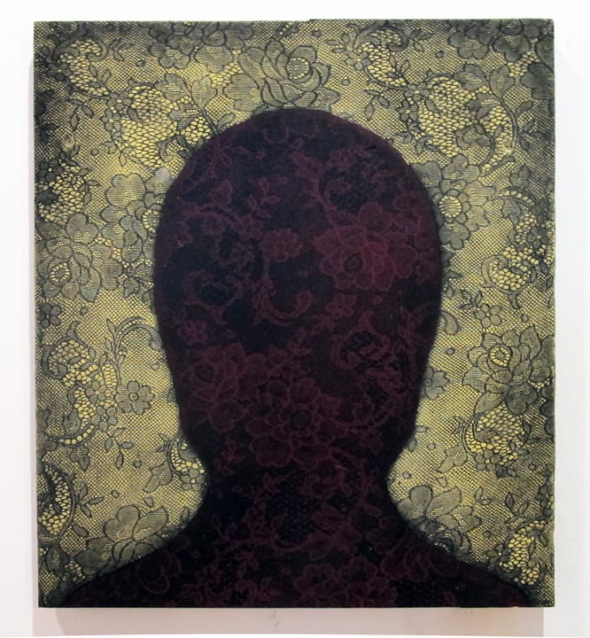 Abby Goodman Lace Shadow Portrait, 2019 Ink and plaster composite on wood 14 x 14 in 35.6 x 35.6 cm