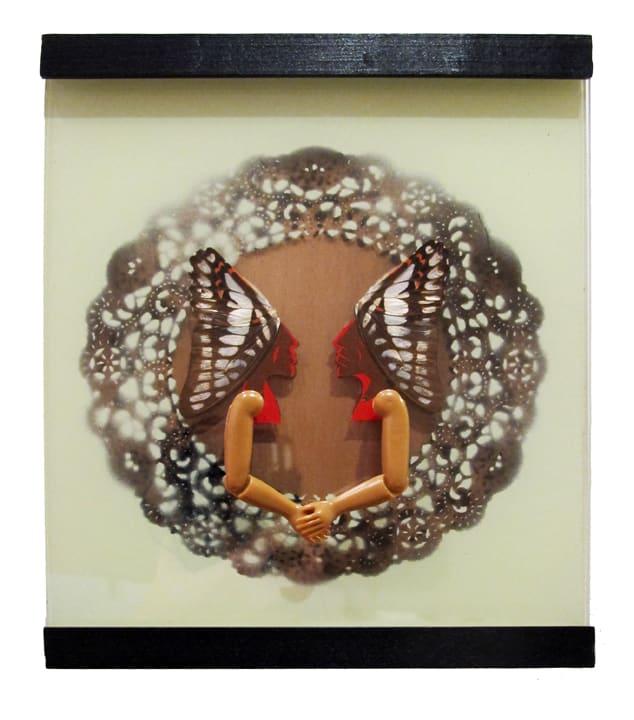 Abby Goodman Shake Enamel on Plexiglas with butterfly wings, wood frame 8 x 8 in 20.3 x 20.3 cm