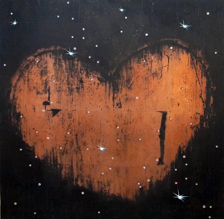 Abby Goodman Copper Heart with Stars, 2019 Copper leaf on wood, enamel, glass rhinestones 24 x 24 in 61 x 61 cm