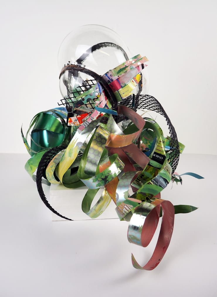 Christina Massey Clairaperennial 2, 2019 enamel paint on repurposed aluminum with hand blown glass, copper, wire and plastic fencing 12 x 15 x 16 in 30.5 x 38.1 x 40.6 cm