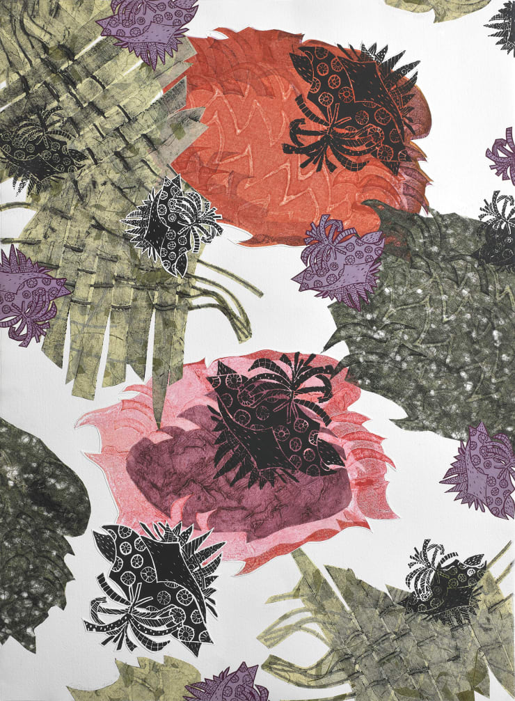 Christina Massey Carbonation Collection: Romance , 2017 collagraph, linocut, silkscreen and chine colle printmaking techniques on paper 22 x 30 in 55.9 x 76.2 cm