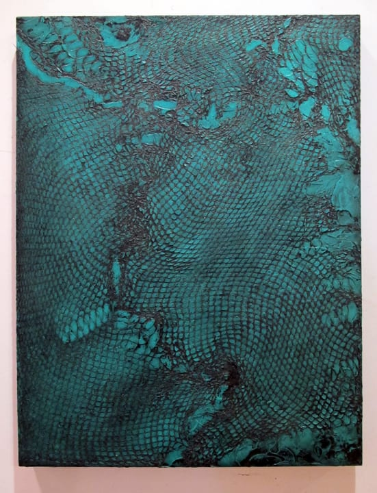 Abby Goodman Snakeskin Blue, 2019 Part of Snakeskin Triptych Plaster ink composite on mdf panel, wax 18 x 24 in 45.7 x 61 cm