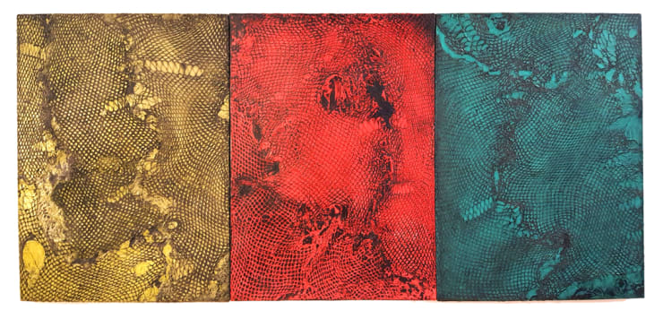 Abby Goodman Snakeskin Triptych, 2019 Plaster ink composite on mdf panel, wax 18 x 24 in per panel 45.7 x 61 cm