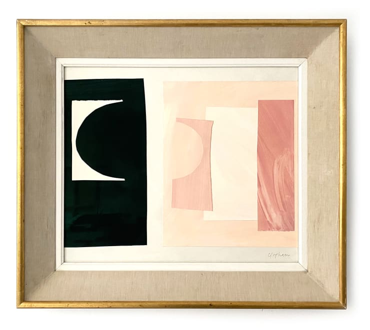 Caught Before Dawn, 2020 Acrylic on arches paper, cut paper collage on Arches 300gsm wove paper. Antique linen frame 62.5 x 71 cm