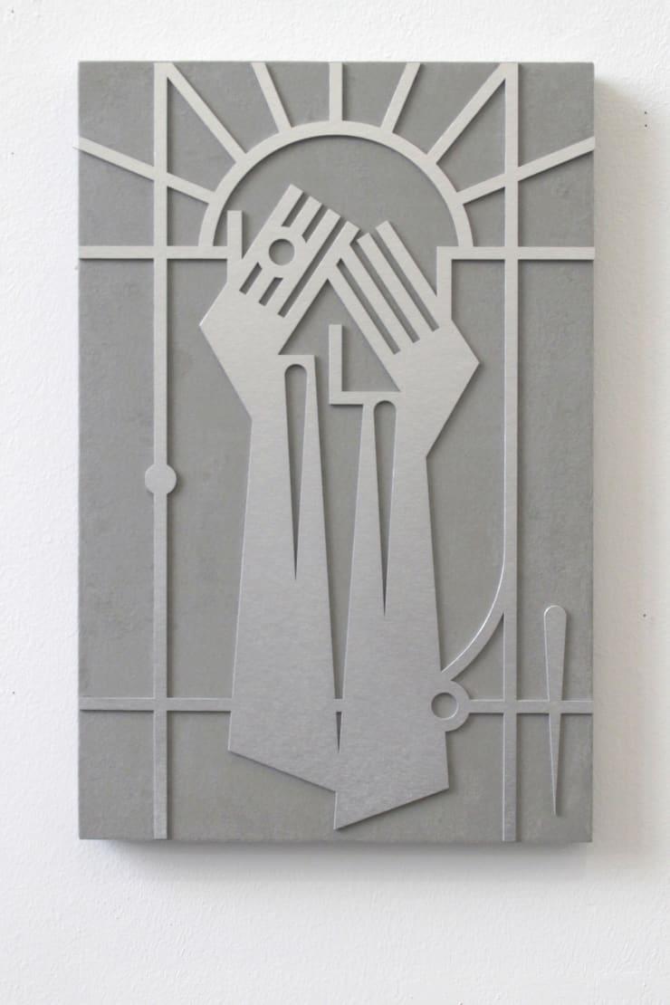 Gašper Kunšič Hiding Sun, 2019 Paint, cardboard and faux leather on frame 60 x 40 cm
