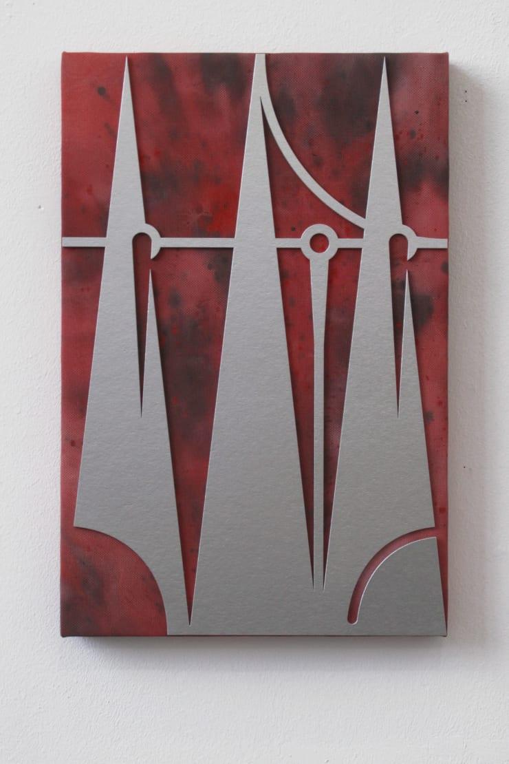 Gašper Kunšič Silent Mountain, 2019 Paint, cardboard and artificial canvas on frame, 60 x 40 cm