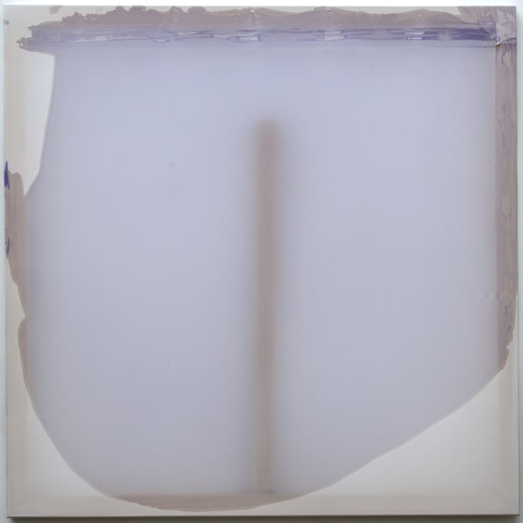Rebecca Wallis Reach , 2019 Acrylic on silk over pine stretcher bars 100 x 100 x 3.5 cm