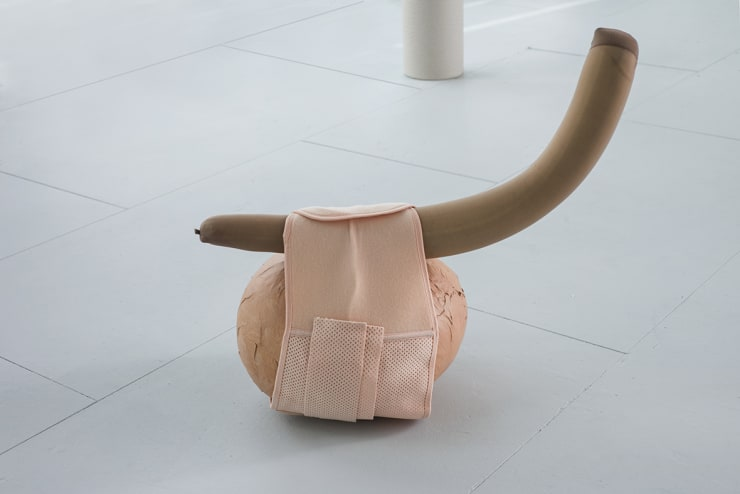 Ingrid Berthon-Moine Under the Belt, 2007 Paper mache, elasticated belt, tights and foam 50 x 80 cm
