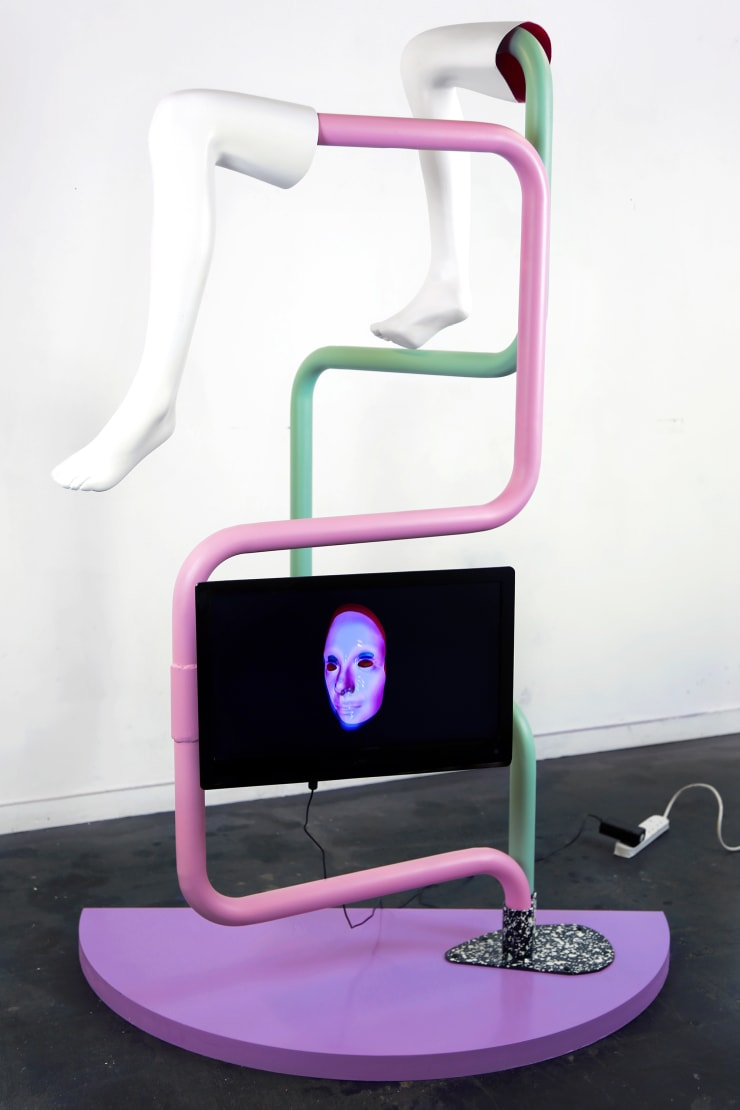 Bex Ilsley Character Building, 2017 Steel, fibreglass and MDF sculpture with a digital video loop component 175 x 120 x 60cm