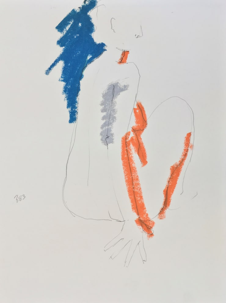 Freeman W. Butts Back of Nude, 1983 Mixed Medium, Ink, charcoal, acrylic, oil pant stick on paper 24 x 18 inches