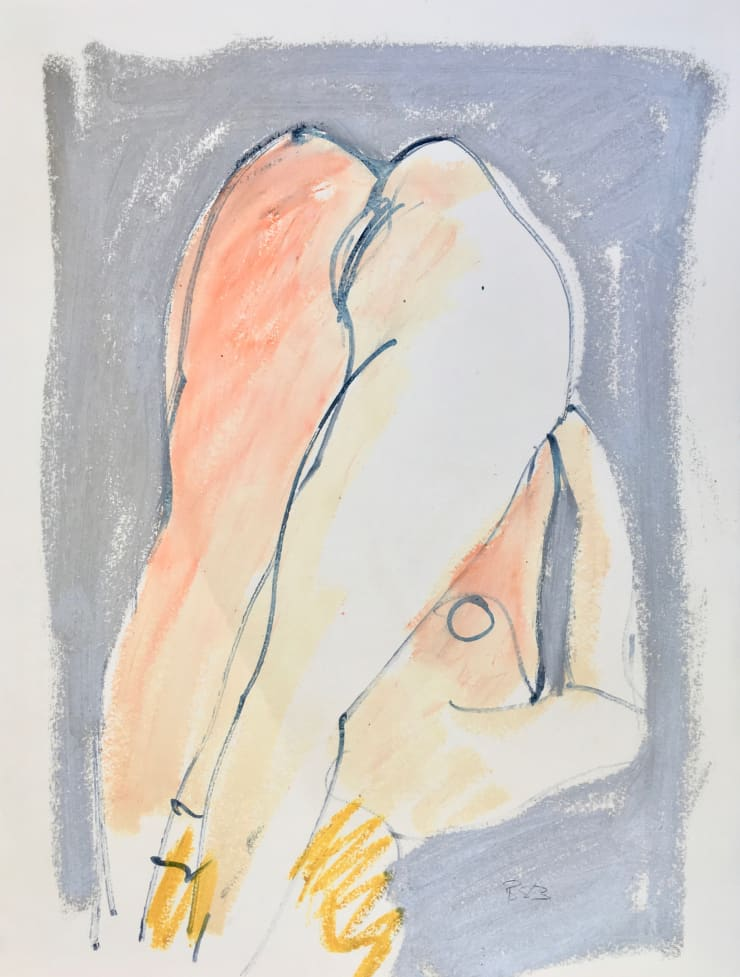 Freeman W. Butts Blond Nude in a Pose, 1983 Mixed Medium, Ink, charcoal, acrylic, oil pant stick on paper 24 x 18 inches
