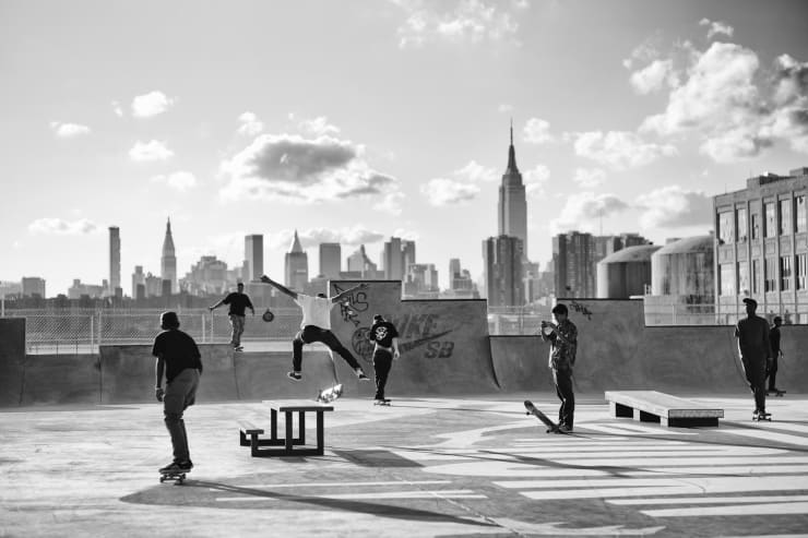 PHIL PENMAN, Skateboarders in Brooklyn, New York, 2015
