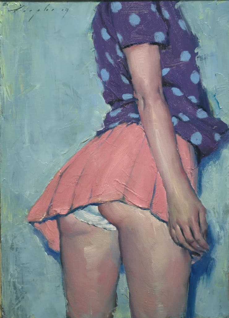 Malcolm Liepke Pink Skirt, 2019 Oil on canvas 35.6 x 25.4 cm 14 x 10 in