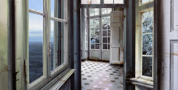Matteo Massagrande Dopo la pioggia, 2019 Oil and mixed media on board 35 x 70 cm 13.8 x 27.5 in