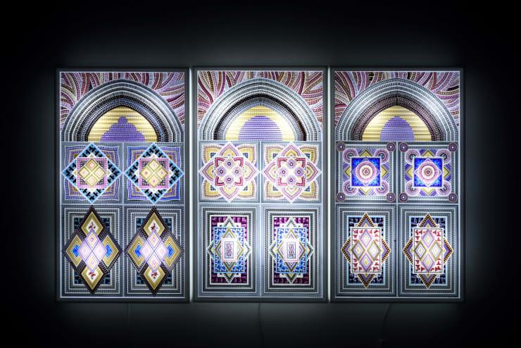 Kim Bumsu Beyond Description (Triptych), 2016 Movie Film, Acrylic, LED 96 x 162 x 10 cm 37.5 x 63.5 x 4 in