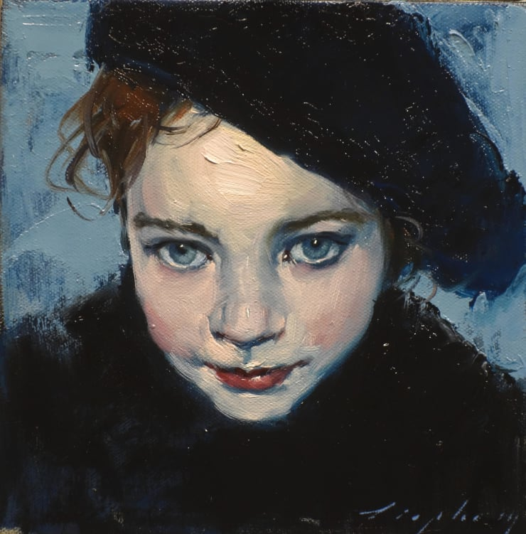 Malcolm Liepke Little French Girl, 2019 Oil on canvas 20.3 x 20.3 cm 8 x 8 in