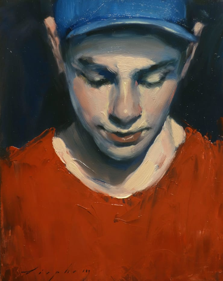 Malcolm Liepke Red Shirt, 2019 Oil on canvas 25.4 x 20.3 cm 10 x 8 in