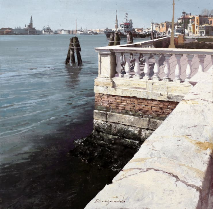 Matteo Massagrande Riva degli Schiavoni (Venezia), 2019 Oil and mixed media on board 30 x 30 cm 11.8 x 11.8 in