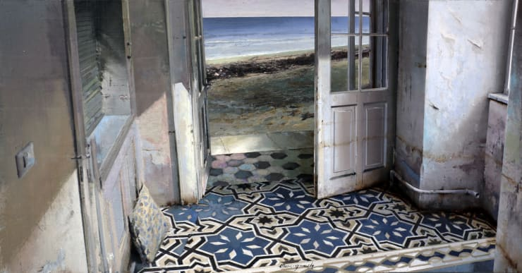Matteo Massagrande La casa sulla spiaggia , 2019 Oil and mixed media on board 35 x 70 cm 13.8 x 27.5 in